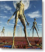 Alien Reptoid Beings Wearing Organic Metal Print
