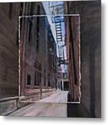 Alley With Fire Escape Layered Metal Print