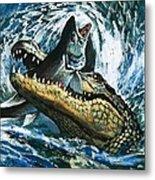 Alligator Eating Fish Metal Print