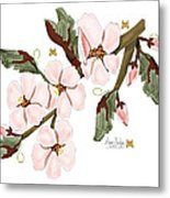 Almond Branch With Flowers And Leaves Metal Print
