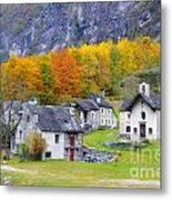 Alpine Village In Autumn Metal Print