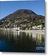 Alpine Village Reflected In The Lake Metal Print