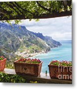 Amalfi Coast Vista From Under A Trellis Metal Print