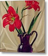 Amaryllis Lillies In A Dark Glass Jug Metal Print