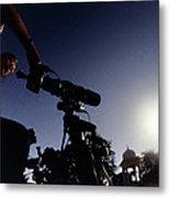 Amateur Astronomer Observing A Solar Eclipse Metal Print