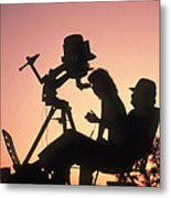 Amateur Astronomers With Meade 2080 20cm Telescope Metal Print