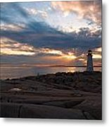 Amazing Sunset At Peggy's Cove Metal Print by Andre Distel