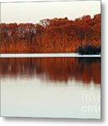 Amber Autumn Lake Metal Print