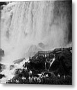 American Falls With Cave Of The Winds Walkway Niagara Falls New York State Usa Metal Print