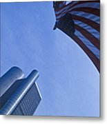 American Flag And Renaissance Center In Detroit, Michigan Metal Print by Will & Deni McIntyre
