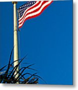 American Flag Flying Over The Palms Metal Print