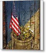 American Flag In Flower Pot - 1 Metal Print