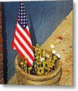 American Flag In Flower Pot - 3 Metal Print