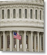 American Flag On The Capitol Building Metal Print