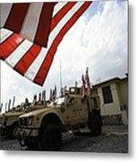 American Flags Are Displayed Metal Print