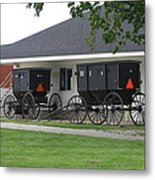 Amish Buggies Parked Metal Print