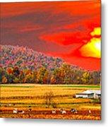 Amish Farm Sundown Metal Print by Randall Branham