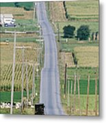 Amish Horse And Buggy On Country Road Metal Print