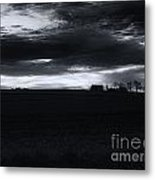 Amish Sunrise Black And White Metal Print by Joshua House