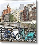 Amsterdam Canal And Bikes Metal Print
