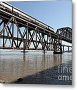 Amtrak Train Riding Atop The Benicia-martinez Train Bridge In California - 5d18829 Metal Print