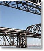 Amtrak Train Riding Atop The Benicia-martinez Train Bridge In California - 5d18835 Metal Print