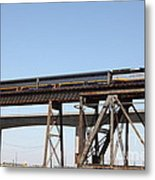 Amtrak Train Riding Atop The Benicia-martinez Train Bridge In California - 5d18839 Metal Print