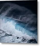 An Aerial View Captures A Large Wave Metal Print