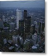 An Aerial View Of Toronto At Dusk Metal Print