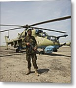 An Afghan Army Soldier Guards A Couple Metal Print