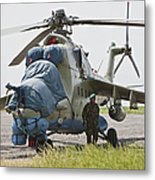 An Afghan Army Soldier Guards A Mi-35 Metal Print