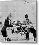 An African American Family On A Park Metal Print