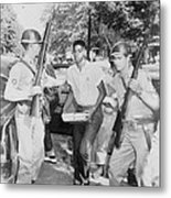 An African American Student Is Escorted Metal Print by Everett