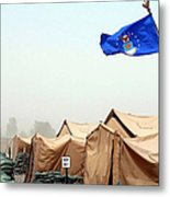 An Air Force Flag In Tent City Waves Metal Print