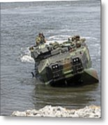An Amphibious Assault Vehicle Climbs Metal Print