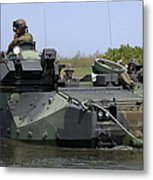 An Amphibious Assault Vehicle Enters Metal Print