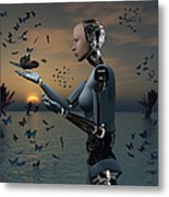 An Android Takes A Closer Look Metal Print
