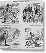 An Anti-irish Cartoon Entitled Irish Metal Print by Everett