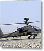 An Apache Helicopter Prepares Metal Print