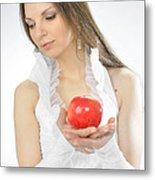An Apple In Hands Metal Print