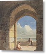 An Arch At Holy Island - Northumberland Metal Print