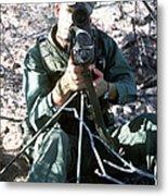 An Army Ranger Sets Up An Anpaq-1 Laser Metal Print