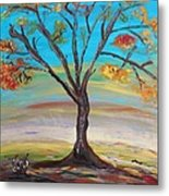 An Autumn Locust Tree Metal Print