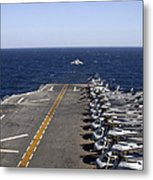 An Av-8b Takes Off From The Flight Deck Metal Print