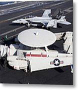 An E-2c Hawkey And An Fa-18 Super Metal Print