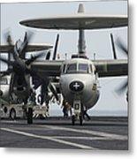 An E-2c Hawkeye Aircraft On The Flight Metal Print