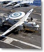 An E-2c Hawkeye Lands On The Flight Metal Print