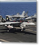 An Ea-18g Growler Lands Aboard Uss Metal Print