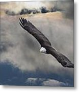 An Eagle In Flight Rising Above The Metal Print by Robert Bartow