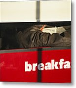 An Early Morning Diner Reads The Paper Metal Print